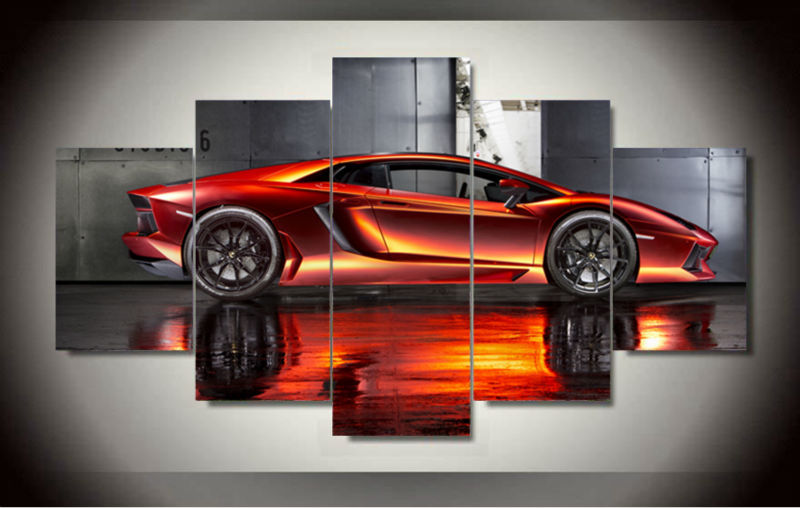 Cool Cheap Wall Art: Wall Art Picture 5 Panel Cool Orange Reflective Sports Car