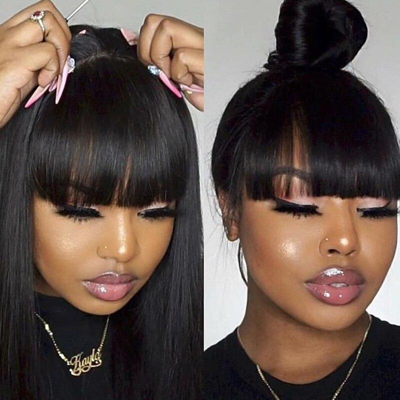 250 densité 13x6 dentelle frontale perruques avec frange droite dentelle avant perruques de cheveux humains pour les femmes perruque brésilienne longue noir Dolago