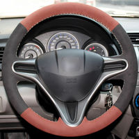 leather hand Top Leather Steering Wheel Hand-stitch on Wrap Cover For Honda Fit 2009-2013 City (1)