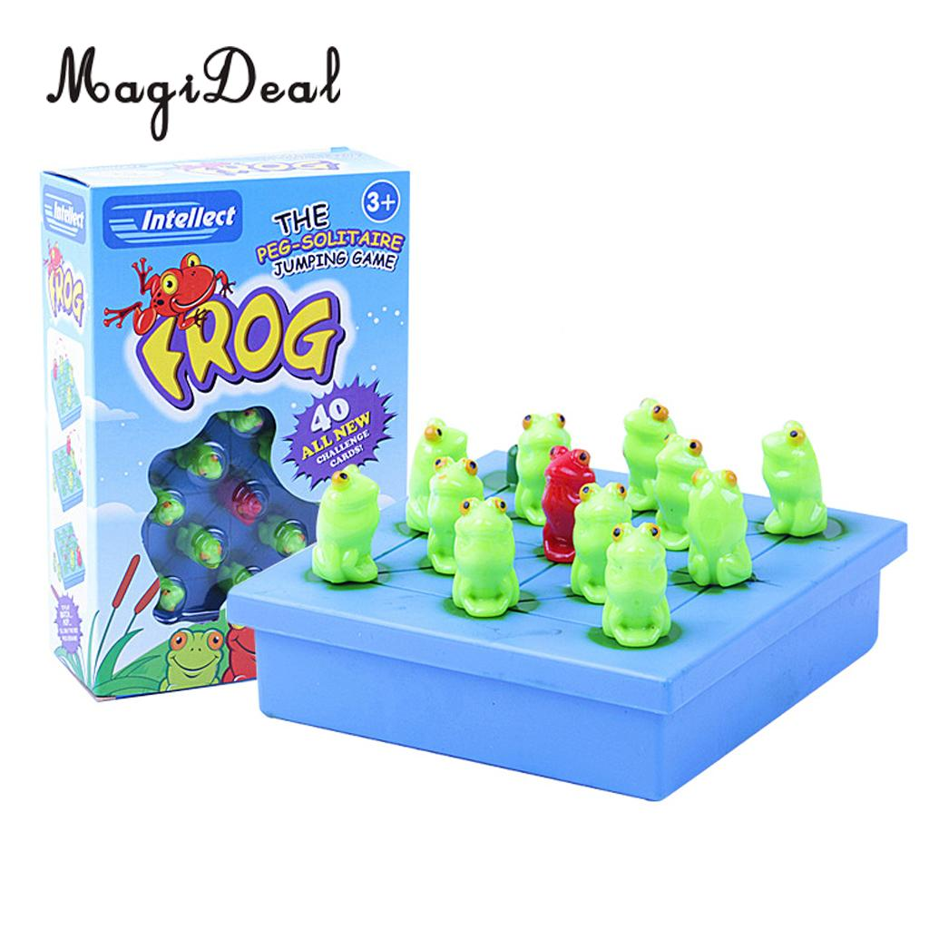 MagiDeal Brand New Plastic Frog The Peg Solitaire Jumping Board Game Children Intellect  ...
