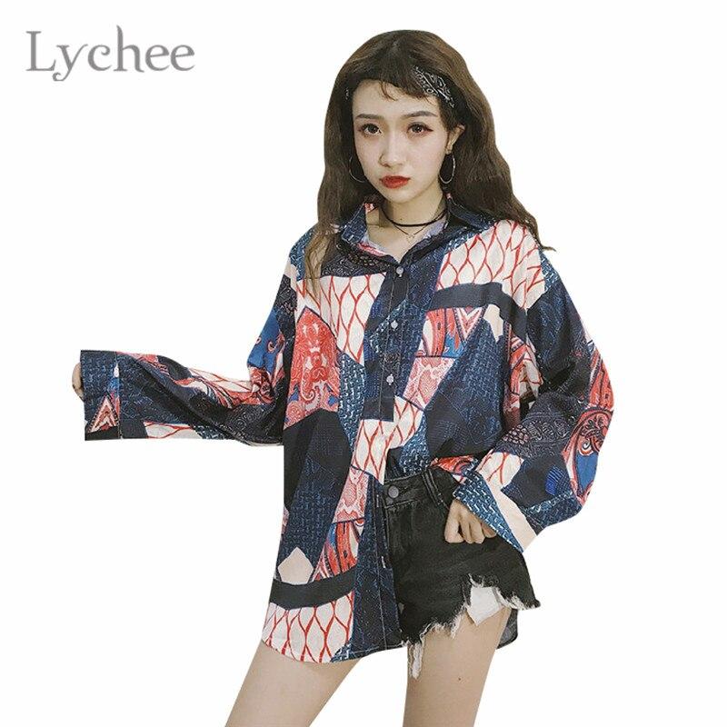 Lychee Harajuku Graffiti Print Women Long   Blouse     Shirt   Turn Down Collar Long Sleeve Casual Loose Oversize   Blouse   Tops Female