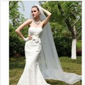 Hot Sale Lady Wedding hats Mantilla Cathedral Bridal Veil Embroidered Lace Long Train Shipping s vestidos brancos em renda