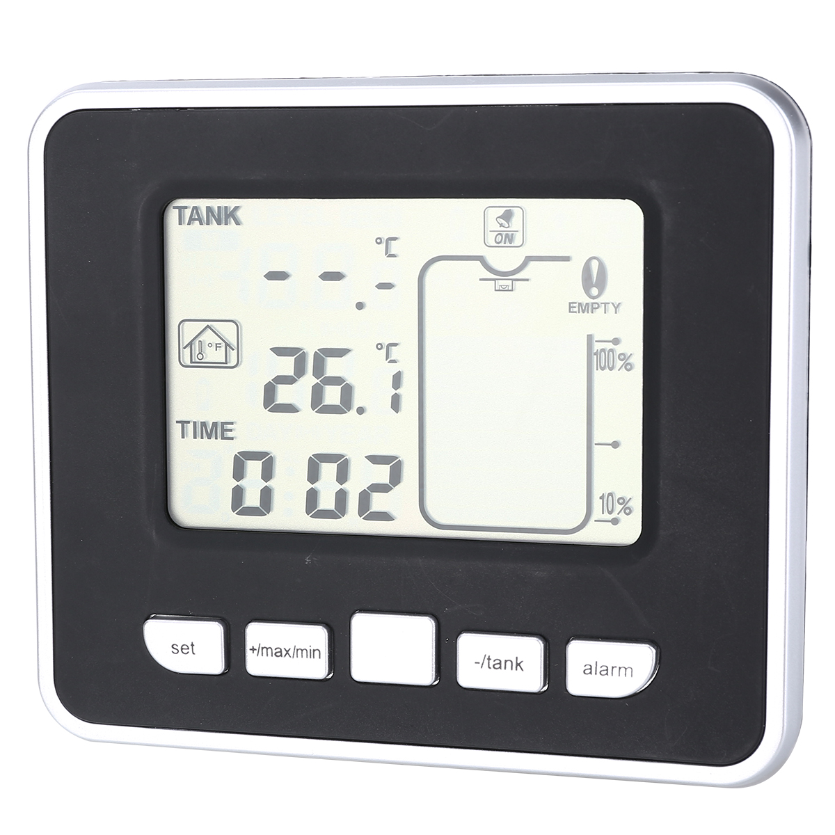 Ultrasonic Water Tank Indicator Liquid Depth Level Meter Sensor with Temperature Display Time Alarm Transmitter Measuring