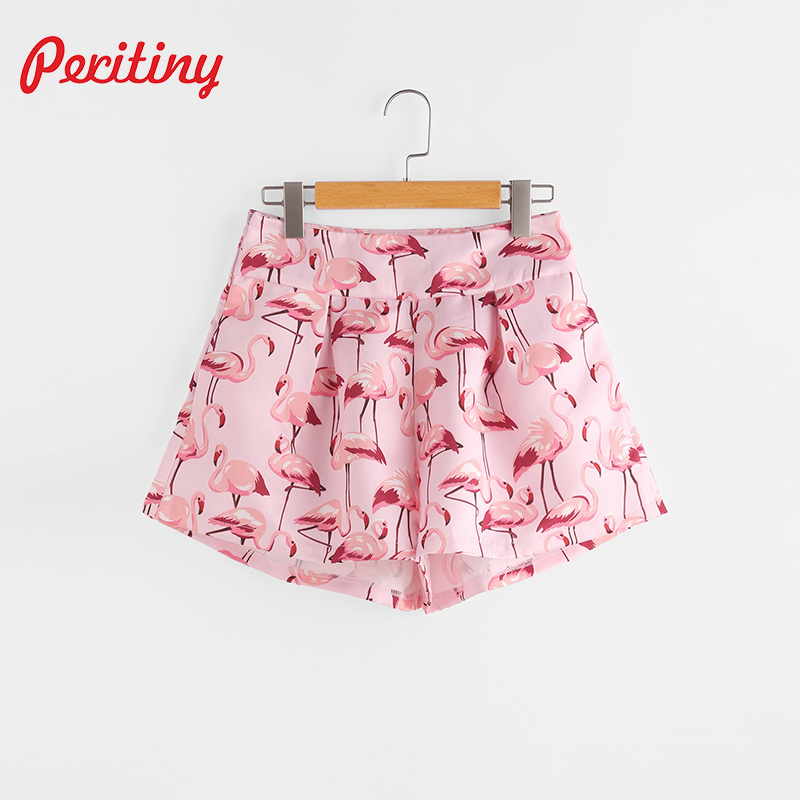 Peritiny 2017 Women's Clothing Summer High Waist Floral Flamingo Printed Short Pants Cotton Shorts Flower Ruffles Short Pants