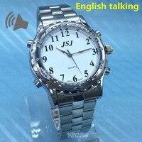 Inglês falando relógio para pessoas cegas ou pessoas com deficiência visual mostrador branco|english|english watches|  -