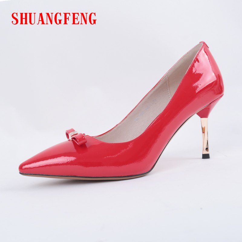 SHUANGFENG Weeding Shoes 2018 New Women Pumps Red Genuine Leather High Heels Shoes Woman Sexy Thin Pointed Single Shoes zapatos shuangfeng red 39 page 3
