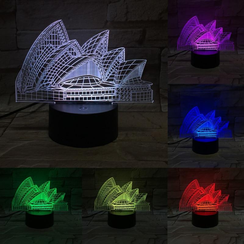 Sydney Theatre Eiffel <font><b>Tower</b></font> Famous Building 3D Bulbs Led Table Lamp Tourist Souvenir for Friends Home Decorative Night Light