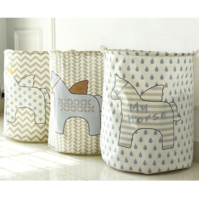 இZakka hogar caballo de dibujos animados patrón de algodón de lino ...