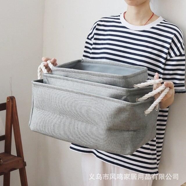 Z Cloth Cotton Bedroom Closet Storage Baskets Clothings Toy Bin Receive Cylinder Box Laundry Basket