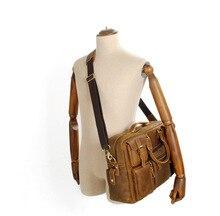 ROWLING 100% genuine cow leather men bag brand designed Multi-pocket men laptop business bag cow leather handbag shoulder bag 1