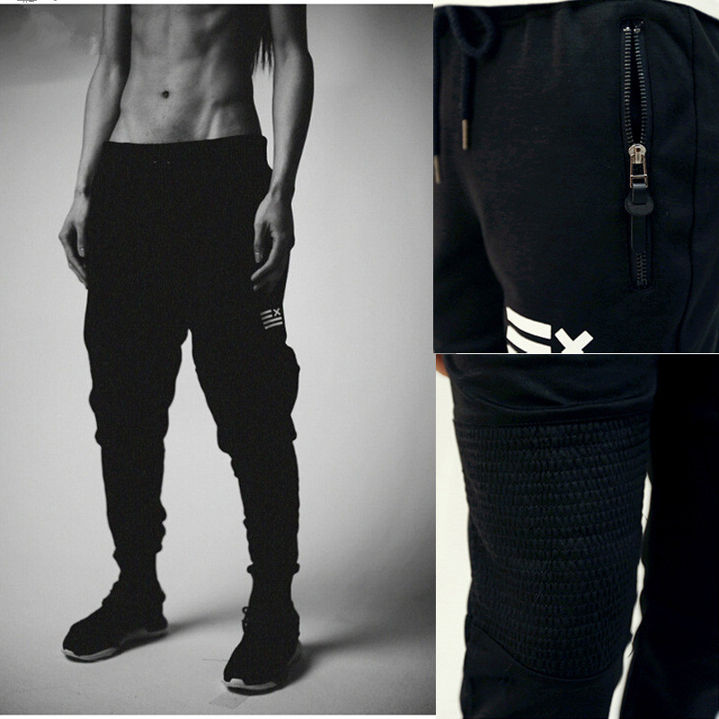 00496b88293 Fashion Men New Sweatpants Sports Zipper pocket Trousers Harem Workout  Running Exercise Yoga Pants Casual Slim sports pants Men