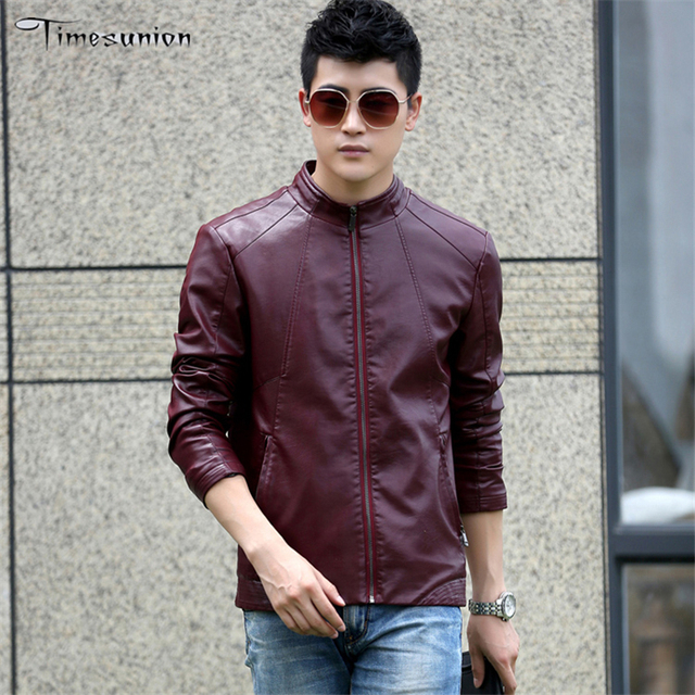 Autumn Winter PU Leather Red Men's Suede Jackets Men Mandarin Collar Black Slim Fit Brand Mens Motorcycle Jackets and Coats