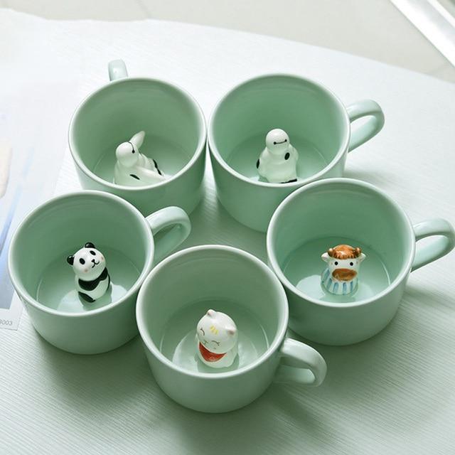 Creative 3D Ceramic Cartoon Animal Mug Panda Baymax Coffee Tea Beer Mug pZakka Mug Travle Drink Water Mug K0051