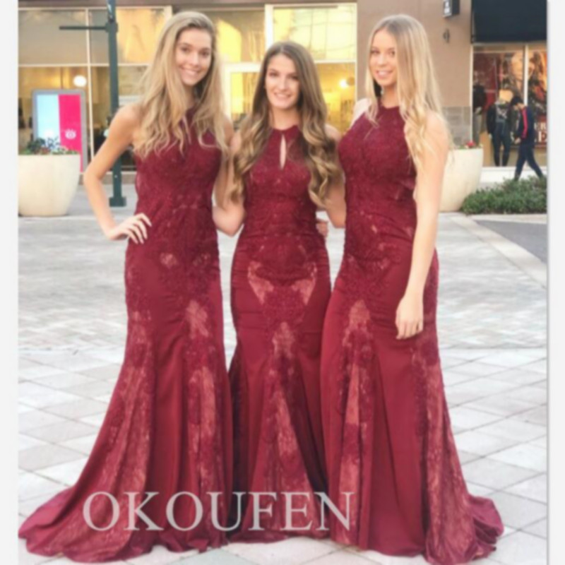 2020 Mermaid Burgundy Lace Bridesmaid Dresses Sexy Keyhole Neck Corset Back Long Formal Dress Wedding Party For Women(China)