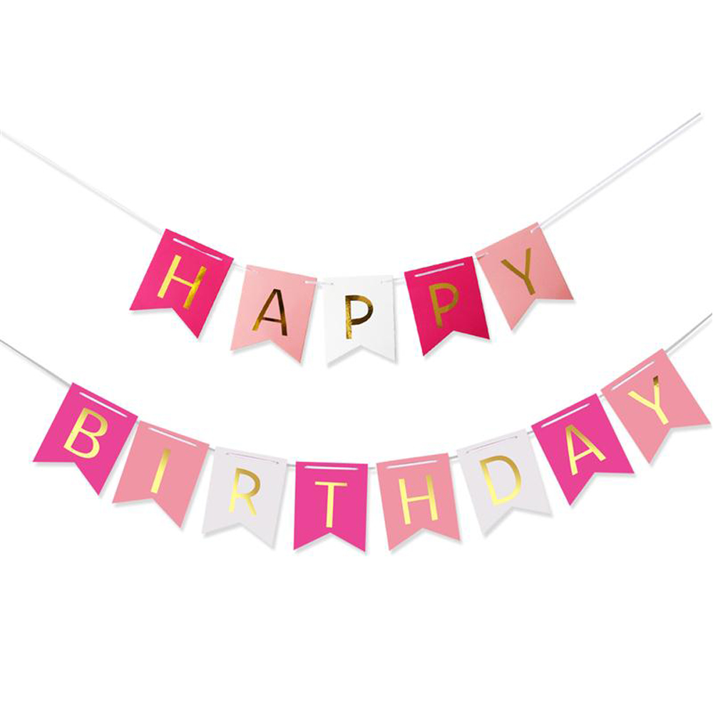 pink happy birthday banner balloons kids baby girl party decoration supplies in ballons accessories from home garden on aliexpresscom alibaba group
