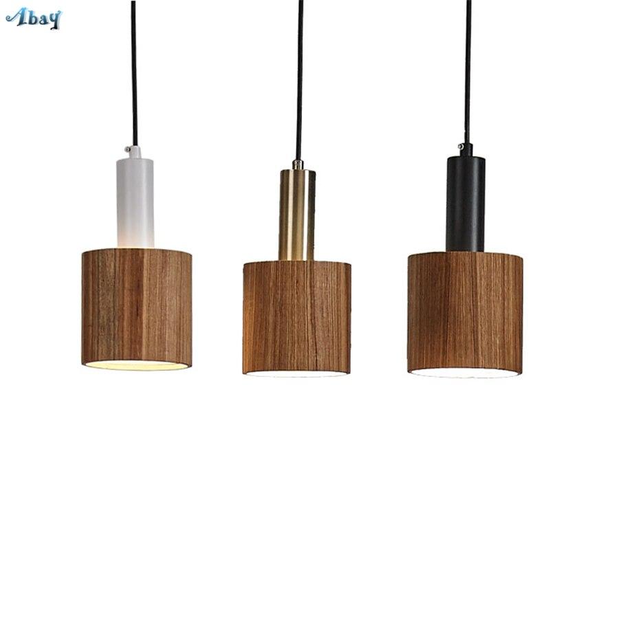 Nordique en bois joint forme rétro pendentif lumière pour salon décor à la maison suspendus lampe en bois salle à manger Vintage luminaires LED