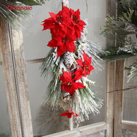 Poinsettia Artificial Flower Pine Needle Garland Christmas Tree Ornament Artificial Christmas Tree Decoration Event Party Supply