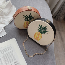 Summer Beach Straw Bag Pineapple Round Circular Shoulder Crossbody Bags for Women Rattan 2019 Handbag Female