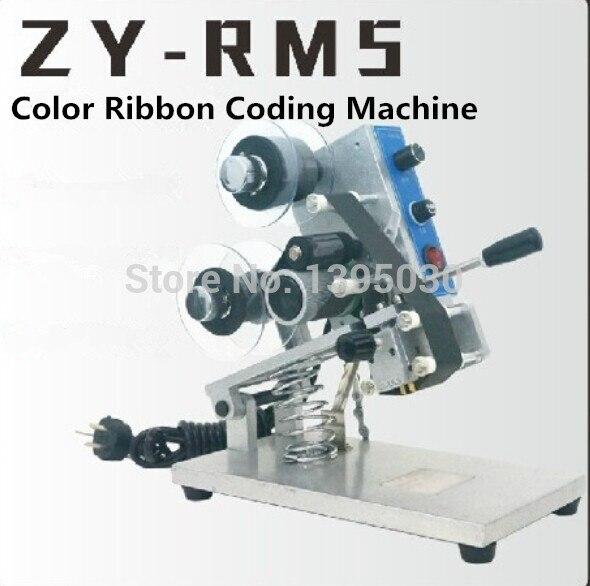 1 pc ZY-RM5 couleur ruban chaud Machine d'impression chaleur ruban imprimante film sac date imprimante manuel codage machine