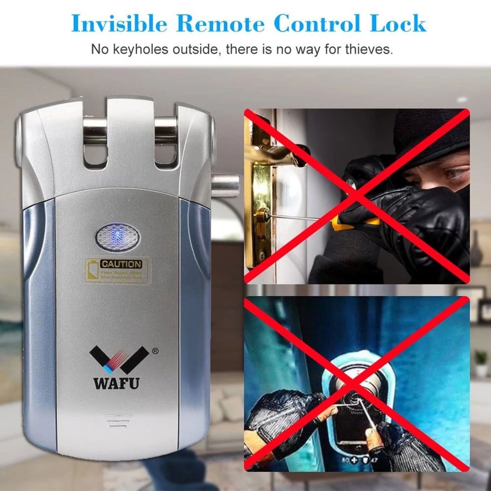 WAFU 018 inalámbrica de Control remoto electrónico cerradura Invisible sin llave cerradura de puerta de entrada con 4 controladores remotos sin usb conject - 6