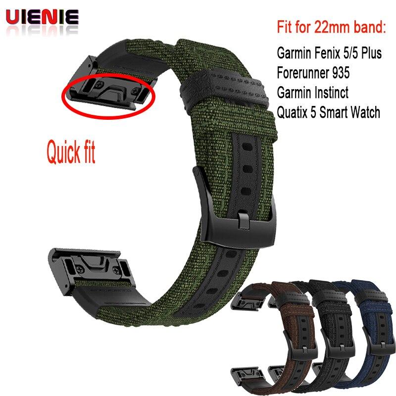 Tüketici Elektroniği'ten Akıllı Aksesuarlar'de 26 22MM naylon Watch Band Kayışı Garmin Fenix 5X5 3 3HR D2 S60 GPS saati Bırakma Hızlı fit bilek Bandı Kayışı Forerunner 935 title=