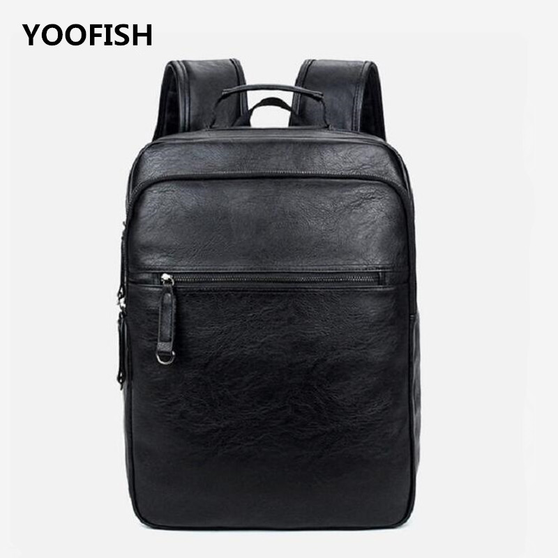YOOFISH Brand Preppy Style PU Leather School Backpack Bag For College Simple Design Men Casual Daypacks