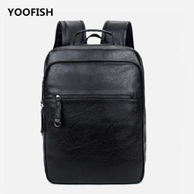 YOOFISH  Brand Preppy Style PU Leather School Backpack Bag For College Simple Design Men Casual Daypacks mochila male New simple men s backpack with zip and pu leather design