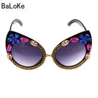 Baroque Women Sunglasses Luxury Rhinestone Sunglasses Colorful Crystal Decoration Cat Eye Sunglasses Shades Female Gafas De