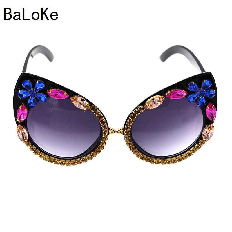 Baroque Women Sunglasses Luxury Rhinestone Sunglasses Colorful Crystal Decoration Cat Ey ...