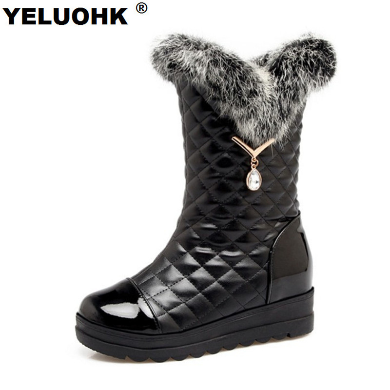 Waterproof Winter Boots Women Shoes Crystal Mid Calf Snow Boots Platform Shoes High Boots Winter Women Leather Large Size цена