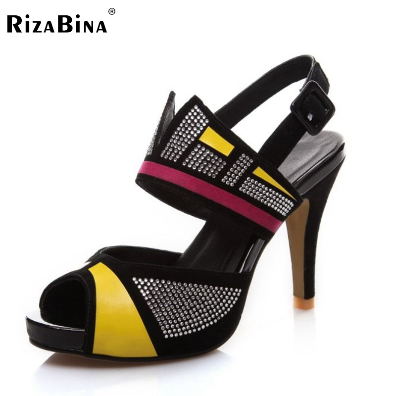RizaBina women real leather high heel sandals  leisure mixed color peep toe heeled party sandal footwear shoes size34-39 RD00047 rizabina sweety summer shoes women real leather thick high heel open toe sandals women buckle strap flower footwear size 34 39