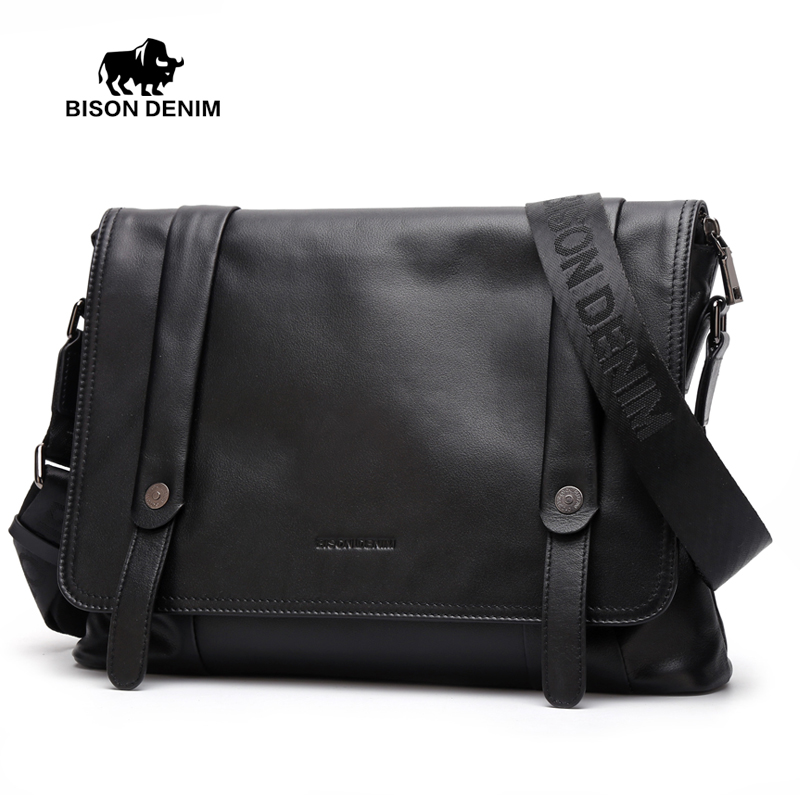 BISON DENIM Genuine Leather Men s bags Flap Pocket Messenger Bag Fashion Black crossbody bags for