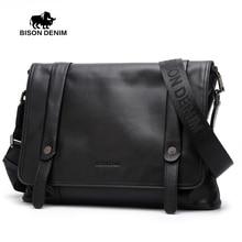 BISON DENIM Genuine Leather Men's bags,Flap Pocket Messenger Bag Fashion Black crossbody bags for men high quality N2422-3B