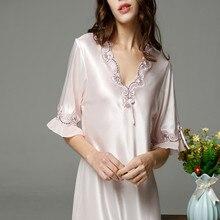 ... Nightwear Sleepwear Nuisette Femme. 2018 Nightgown Pijama Victoria Sexy  Silk Night Dress Lace Plus Size Short Sleeve Pyjamas Women Nightwear 21bc3a964