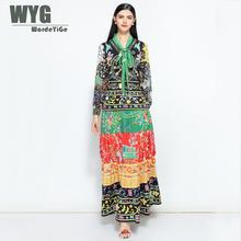 a937c7f66a 2018 Autumn Dress Women Canada Style High Quality Runway Fashion Bohemian  Hipppie Self Bow Tie Long
