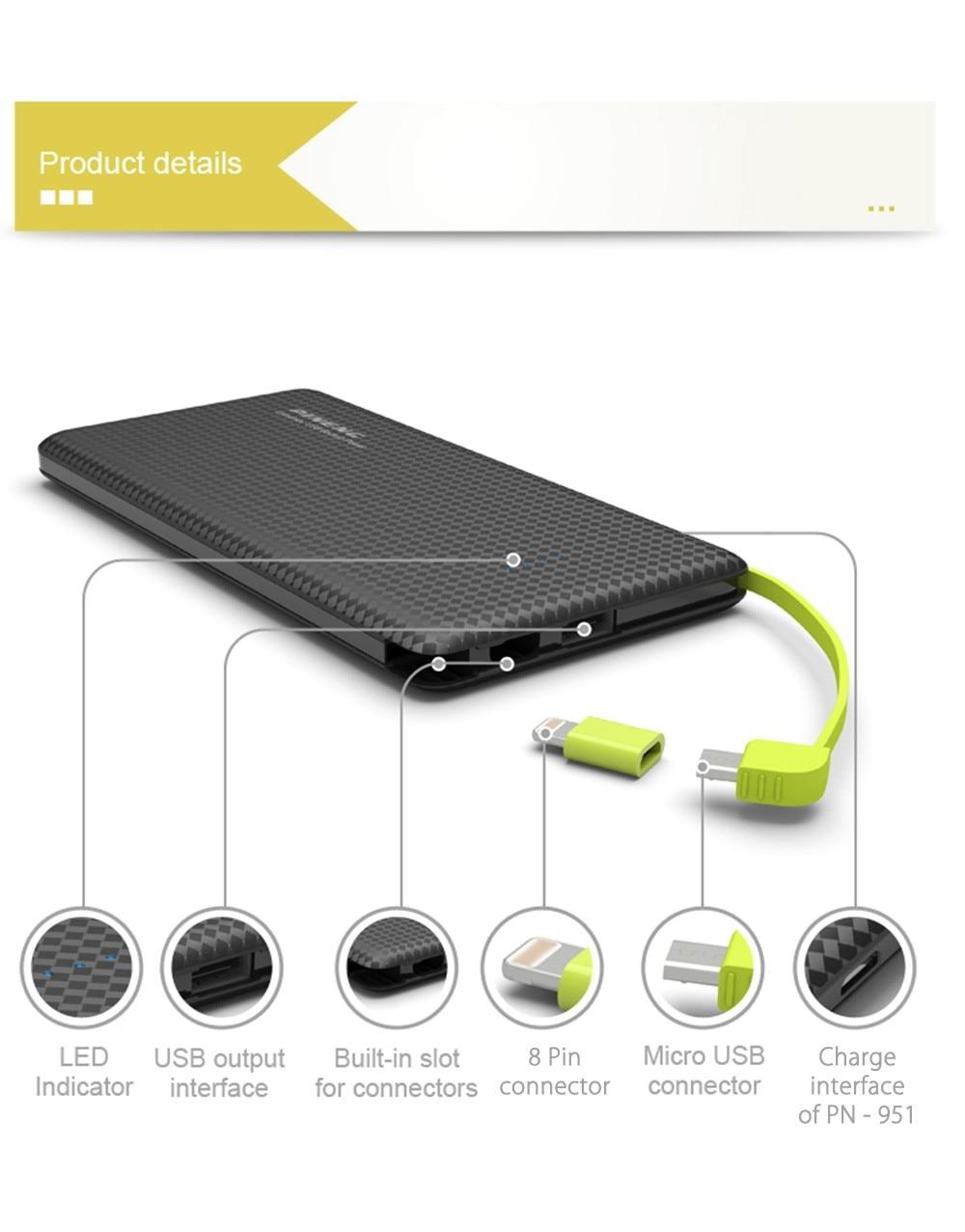 PINENG PN 951 10000 mAh Mobile Portatile della Banca di Potere Caricabatterie Integrato Nel Cavo di Ricarica Caricabatteria Esterno