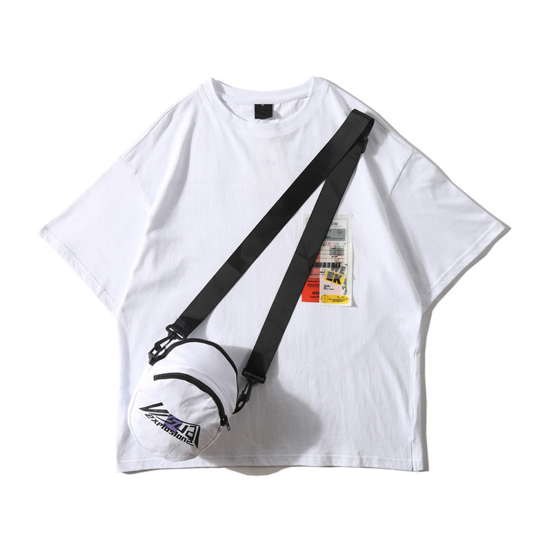 Dark Icon Side Split Fluorescent Green T-shirt with Messenger Bag Hiphop Tshirt Men Cotton Tee Shirts Streetwear Clothing 34