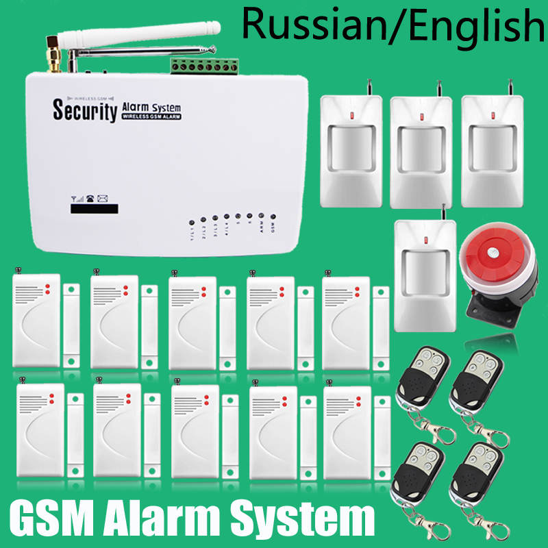 ФОТО Russian/English Voice 433MHz Wireless Wired Home Security Burglar GSM Alarm System Auto Dial SMS Call Free Shipping