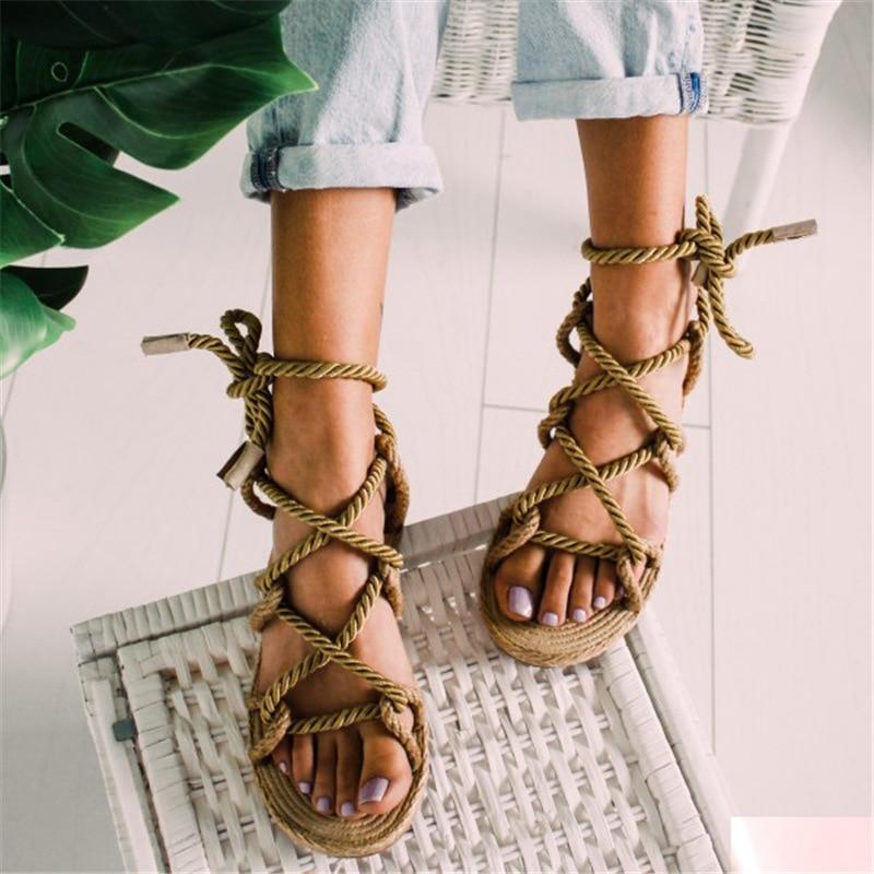 Women Sandals Lace Up 2019 Hemp Rope Rome 2019 Women Sandals Casuals Gladiator Cross Tied Women Shoes 35-43