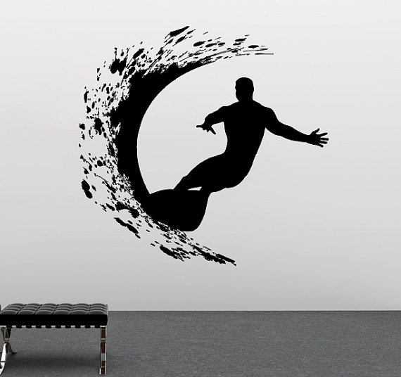 Спорт серии настенные extreme Surfer Приключения Сёрфинг стены Стикеры винил Книги по искусству Дизайн Настенная Home Гостиная декора d-211