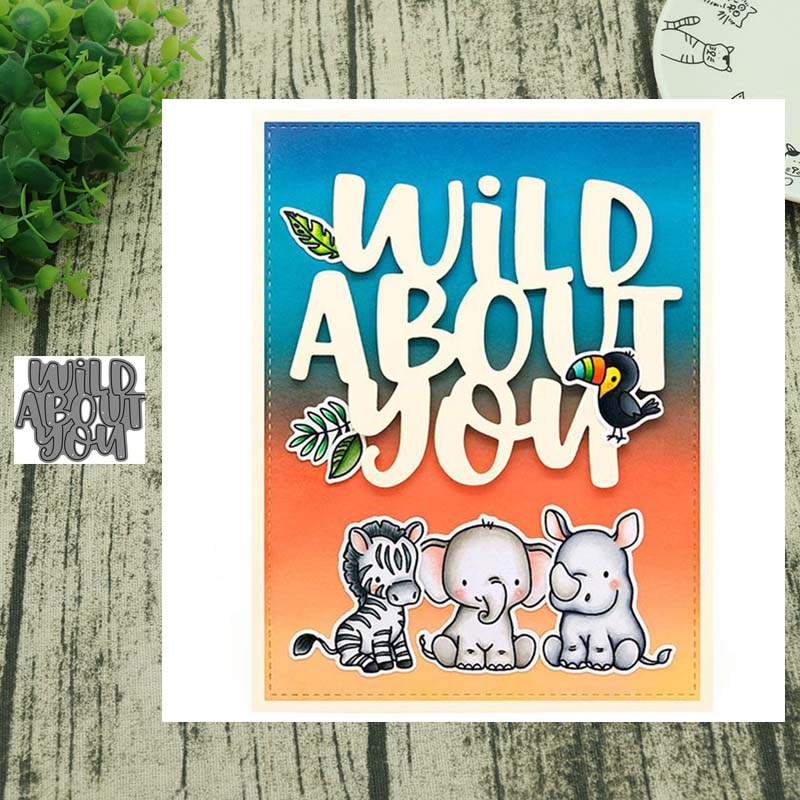 Wild About You Metal Cutting Dies Wreath Cut Die Mold Decoration Scrapbook Paper Craft Knife Mould Blade Punch Stencils