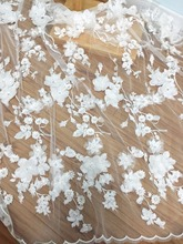 One yard Luxury 3D Beaed Lace Fabric in Off White , Scalloped Bridal Dress Wedding Gown Lace Fabric , Haute Couture Fabric