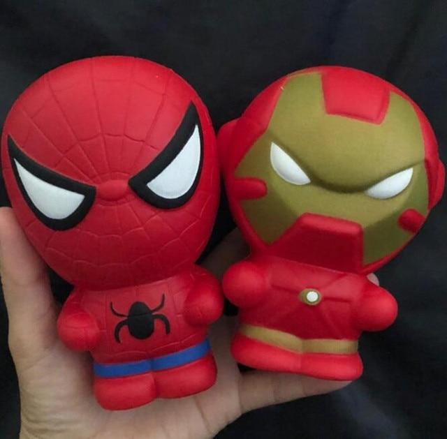 Super Herói Homem De Ferro Homem Aranha Brinquedo Squeeze Jumbo Squishies Squishy Lento Subindo Alívio do Estresse Brinquedos Para O Miúdo
