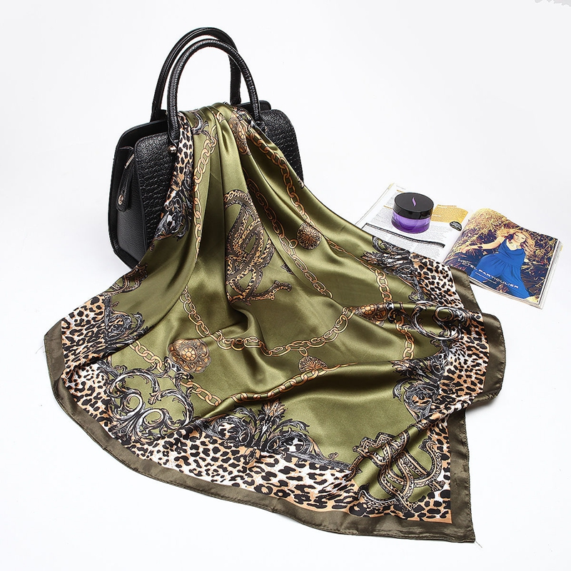 Womens Office Lady Leopard Silk Satin Square Scarves Head Shawl Neck Wrap Gift