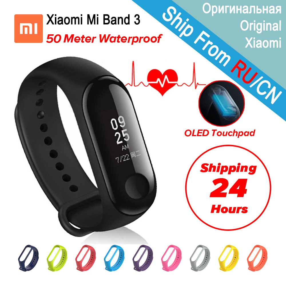 Original Xiaomi Mi Band 3 Fitness Tracker Heart Rate Monitor 0.78'' OLED Display Touchpad Bluetooth 4.2 Miband 3 For Android IOS in stock original xiaomi mi band 3 miband 3 smartband oled display touchpad heart rate monitor wristbands bracelet xiaomi mi 8