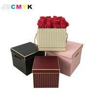 Square Shape Flowers Gift Box Foil Gold Line Flower Box 3pcs Set Include L M S