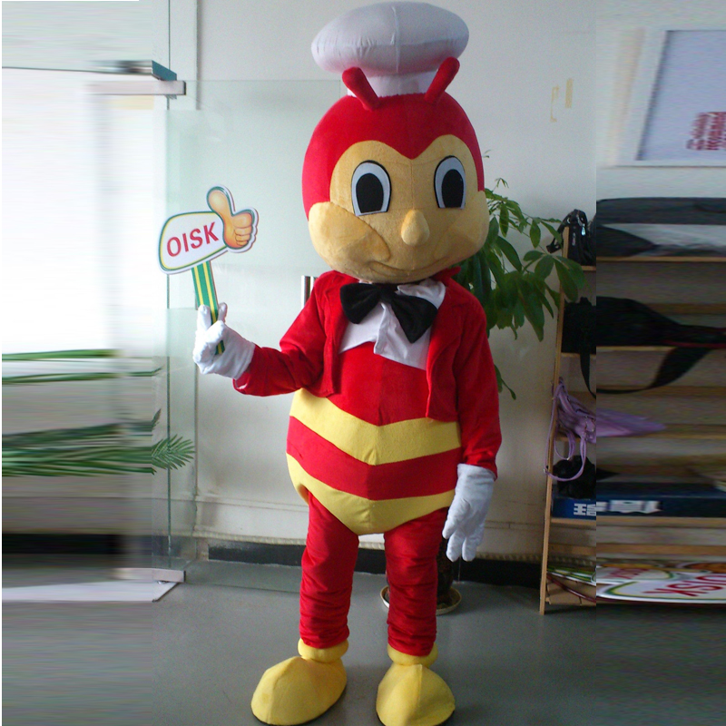 ohlees Actual Picture Jollibee in Philippines happy bee Mascot Costume Adult Size Outfit Plush Costumes Fancy Dress