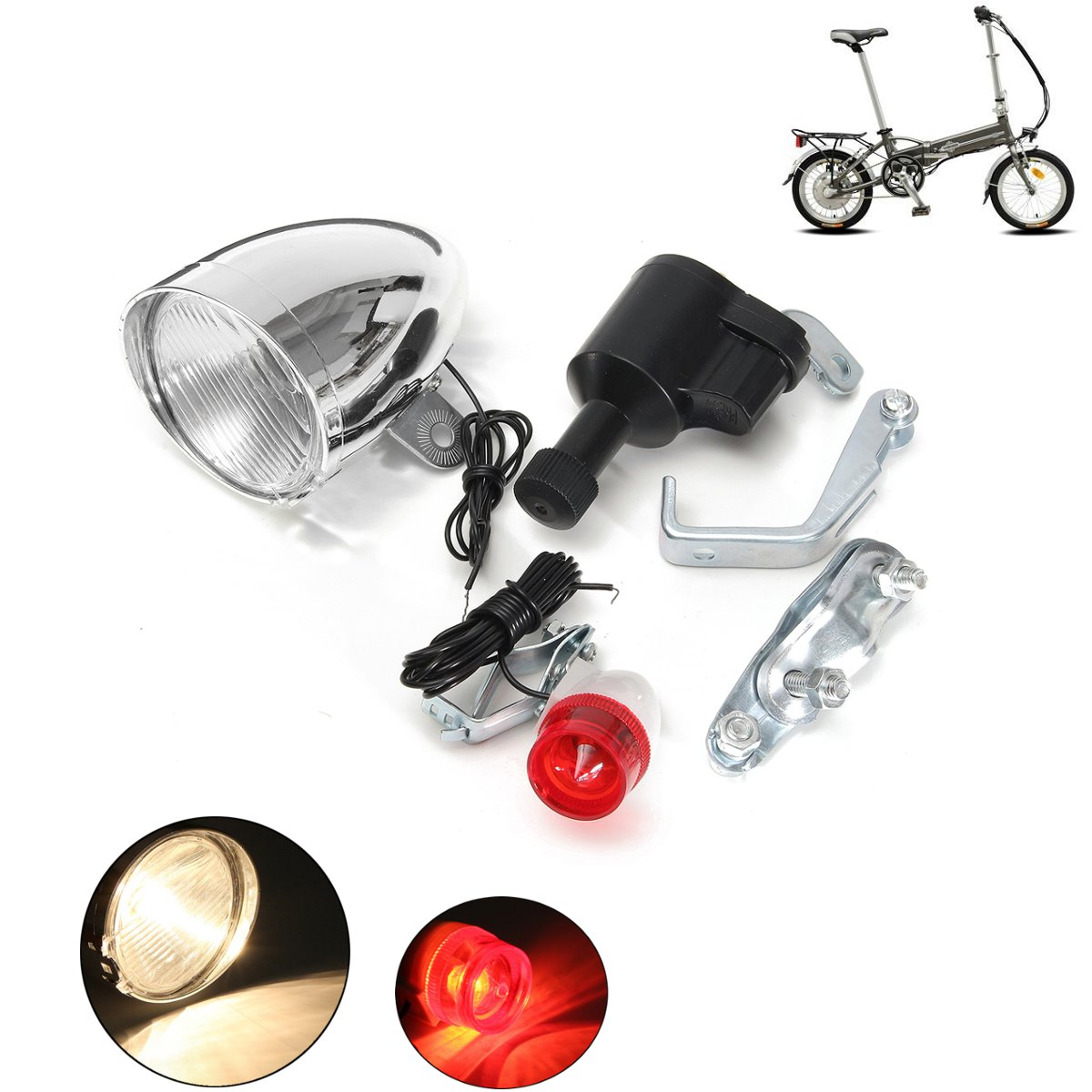 1Set 6V 3W Bicycle For Dynamo Lights Set Safety No Batteries Needed Headlight Rearlight LED Bicycle Lights Suitable For All Bike