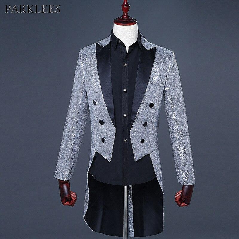 Mens Sliver Sequin Glitter Blazer Jacket Men Nightclub Dinner Party Wedding Tailcoat Suit Men Gorgeous Punk Prom Costume Homme