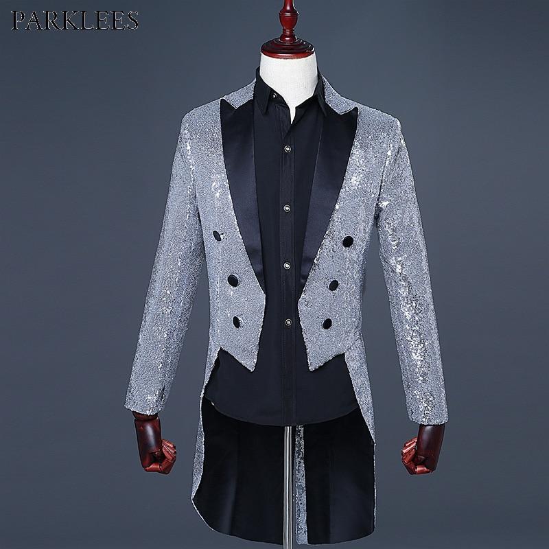 Veste Blazer à paillettes en argent pour hommes veste pour hommes discothèque dîner Costume de mariage Costume de tailleur pour hommes magnifique Costume de bal Punk Homme-in Blazers from Vêtements homme    1